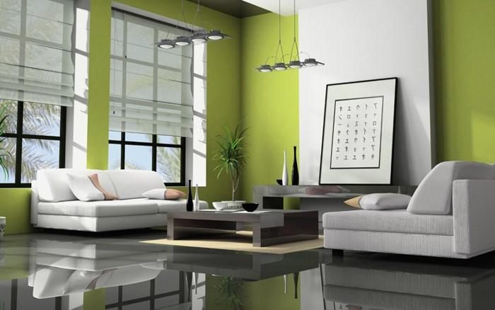Nên sử dụng màu xanh làm chủ đạo sẽ rất hợp với phòng khách mệnh mộc