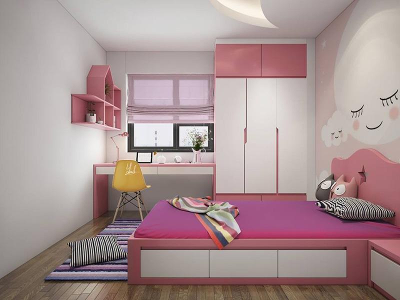 Thiết kế căn hộ 100m2 3 phòng ngủ tại Royal City - Phòng ngủ con gái
