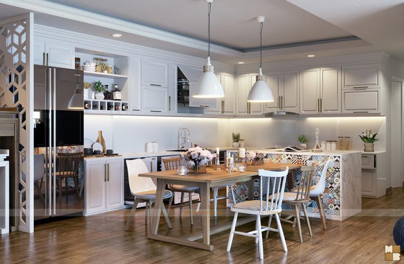 Thiết kế căn hộ 100m2 3 phòng ngủ tại chung cư Ngoại Giao Đoàn theo phong cách Scandinavian - Phòng bếp ăn