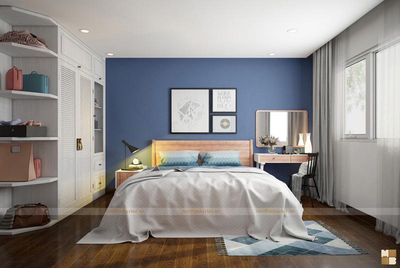 Thiết kế căn hộ 100m2 3 phòng ngủ tại chung cư Ngoại Giao Đoàn theo phong cách Scandinavian - Phòng ngủ master