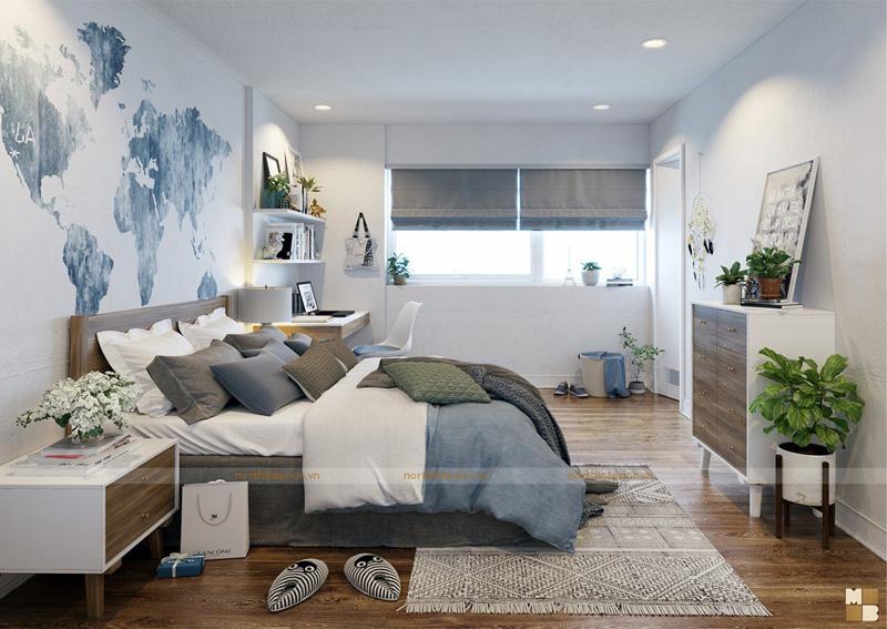 Thiết kế căn hộ 100m2 3 phòng ngủ tại chung cư Ngoại Giao Đoàn theo phong cách Scandinavian - Phòng ngủ con trai
