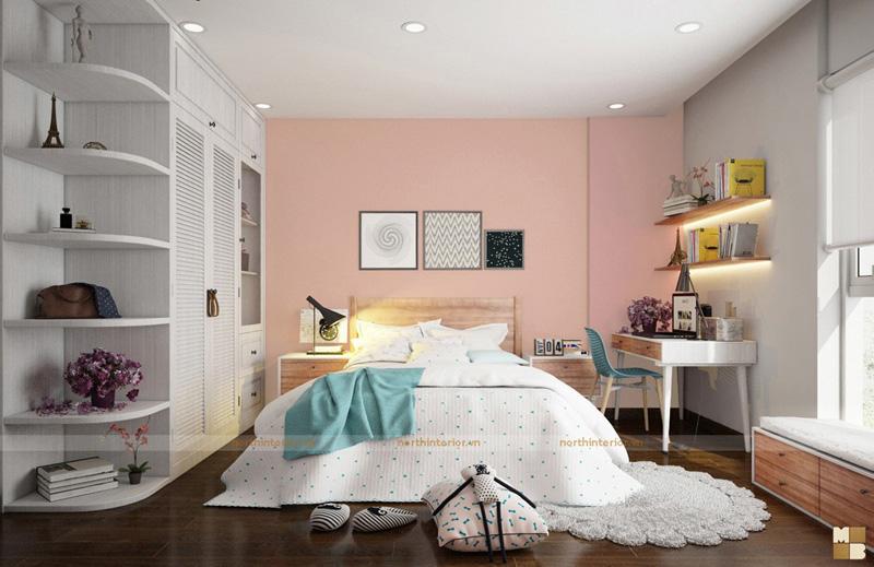 Thiết kế căn hộ 100m2 3 phòng ngủ tại chung cư Ngoại Giao Đoàn theo phong cách Scandinavian - Phòng ngủ con gái