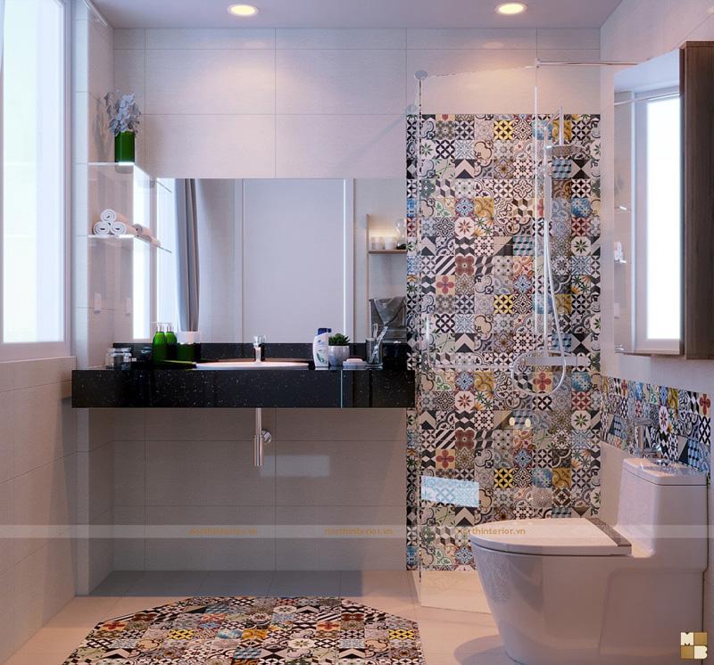 Thiết kế căn hộ 100m2 3 phòng ngủ tại chung cư Ngoại Giao Đoàn theo phong cách Scandinavian - Phòng tắm và nhà vệ sinh wc