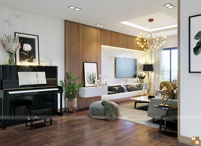 Thiết kế căn hộ 100m2 3 phòng ngủ tại chung cư Goldmark City - Phòng khách view 2