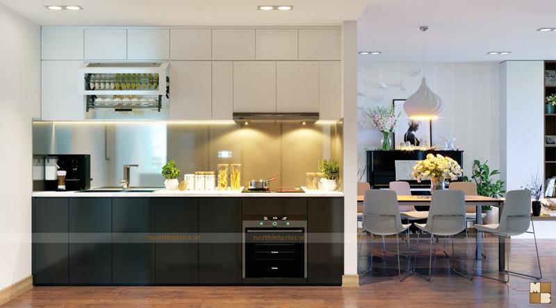 Thiết kế căn hộ 100m2 3 phòng ngủ tại chung cư Goldmark City - Phòng bếp