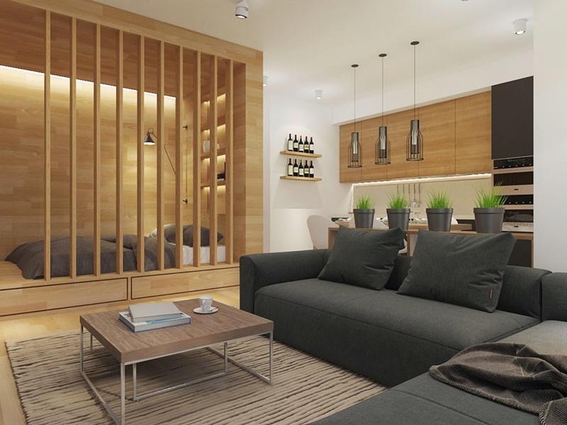 Thiết kế căn hộ studio kết hợp phòng khách phòng ngủ và bếp